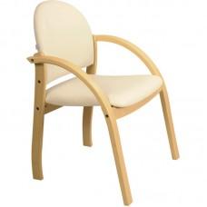 Кресло Жанет стул бежевый кож.зам/каркас дер светл