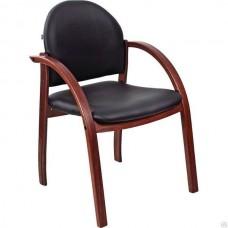 Кресло Жанет стул черн кож.зам/каркас дер орех.
